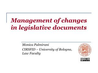 Management of changes in legislative documents