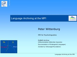 Language Archiving at the MPI