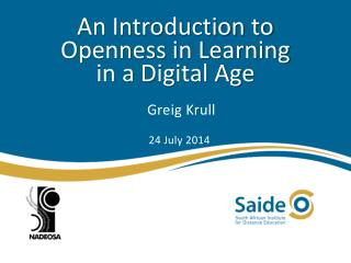 An Introduction to Openness in Learning  in a Digital Age