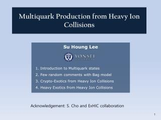 Su Houng  Lee   1. Introduction to  Multiquark  states    2. Few random comments with Bag model