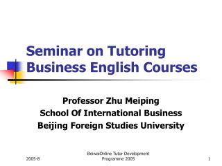 Seminar on Tutoring Business English Courses