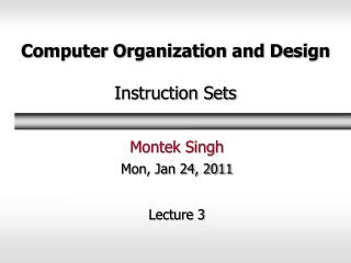 Computer Organization and Design Instruction Sets