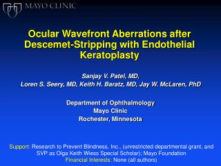 Ocular Wavefront Aberrations after Descemet-Stripping with Endothelial Keratoplasty
