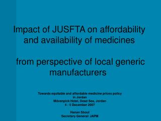 Towards equitable and affordable medicine prices policy in Jordan