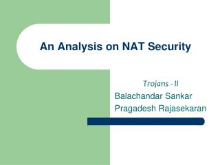 An Analysis on NAT Security