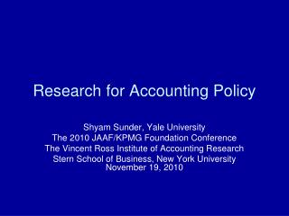 Research for Accounting Policy