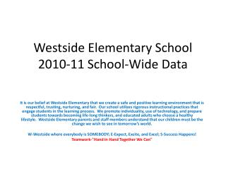 Westside Elementary School 2010-11 School-Wide Data