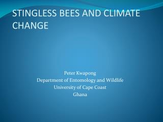 STINGLESS BEES AND CLIMATE CHANGE