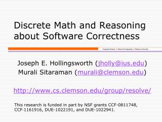 Discrete Math and Reasoning about Software Correctness