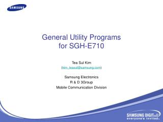 General Utility Programs for SGH-E710