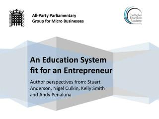 Author perspectives from: Stuart Anderson, Nigel  Culkin ,  Kelly Smith  and Andy  Penaluna