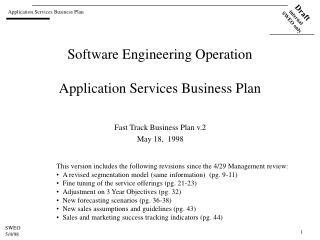 Software Engineering Operation Application Services Business Plan