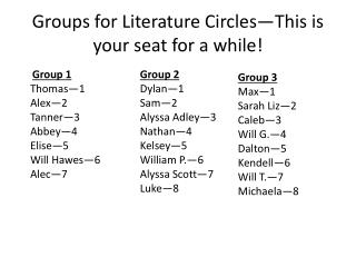 Groups for Literature Circles—This is your seat for a while!