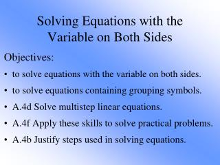 Solving Equations with the Variable on Both Sides