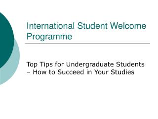 International Student Welcome Programme