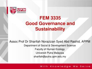 FEM 3335 Good Governance and Sustainability