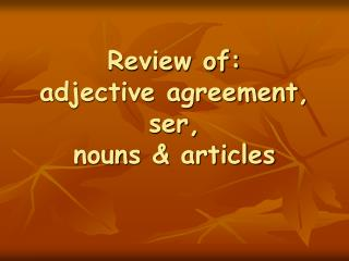 Review of: adjective agreement, ser, nouns & articles