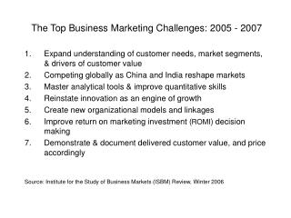 The Top Business Marketing Challenges: 2005 - 2007