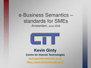 e-Business Semantics – standards for SMEs Amsterdam , June 2009