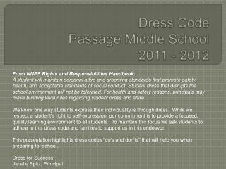 Dress Code Passage Middle School 2011 - 2012