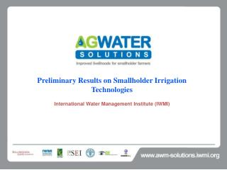 Preliminary Results on Smallholder Irrigation Technologies