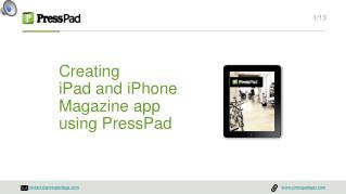 Publishing on iPad with PressPad