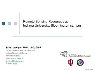 Remote Sensing Resources at Indiana University, Bloomington campus