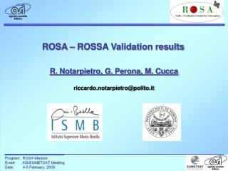 ROSA – ROSSA Validation results