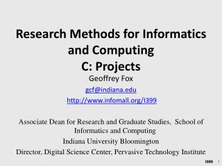 Research Methods for Informatics and Computing  C: Projects
