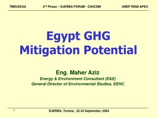 Egypt GHG  Mitigation Potential
