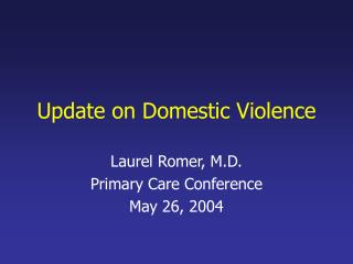 Update on Domestic Violence