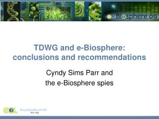 TDWG and e-Biosphere: conclusions and recommendations