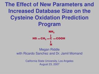 The Effect of New Parameters and Increased Database Size on the Cysteine Oxidation Prediction Program