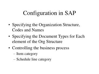 Configuration in SAP
