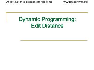 Dynamic Programming: Edit Distance