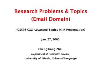 Research Problems & Topics  (Email Domain)