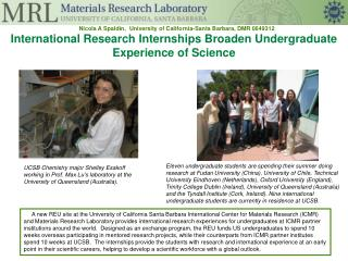 International Research Internships Broaden Undergraduate Experience of Science