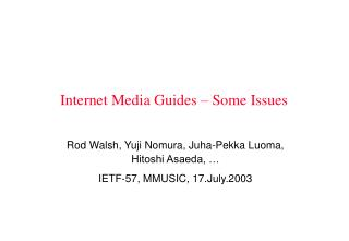 Internet Media Guides – Some Issues