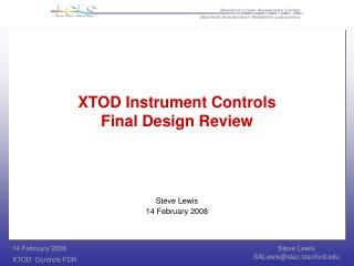 XTOD Instrument Controls Final Design Review
