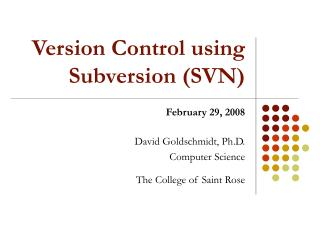 Version Control using Subversion (SVN)