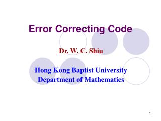 Error Correcting Code