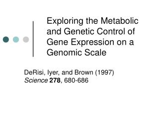 Exploring the Metabolic and Genetic Control of Gene Expression on a Genomic Scale