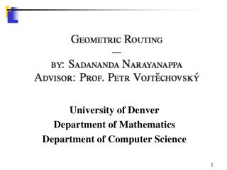 University of Denver Department of Mathematics Department of Computer Science