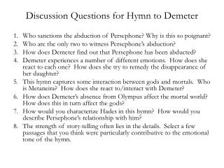 Discussion Questions for Hymn to Demeter