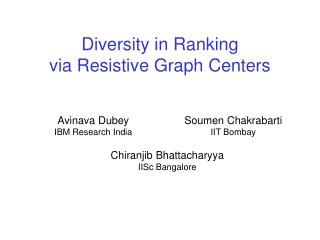 Diversity in Ranking via Resistive Graph Centers