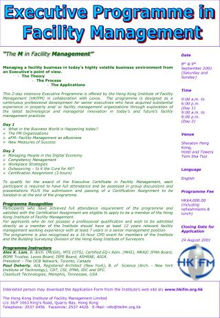 Executive Programme in  Facility Management