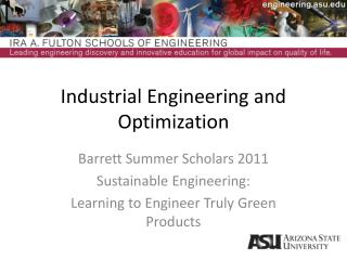 Industrial Engineering and Optimization