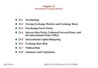 Chapter 21 International Corporate Finance