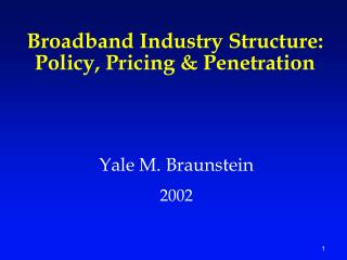 Broadband Industry Structure:  Policy, Pricing & Penetration