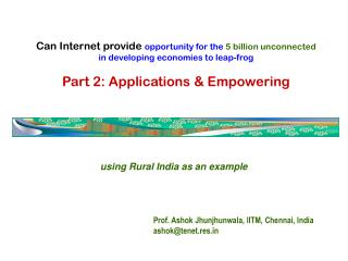 using Rural India as an example